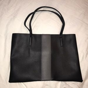 Black & Taupe leather tote